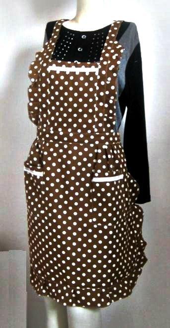 Brown Polka Printing Bib Apron Cotton(China (Mainland))