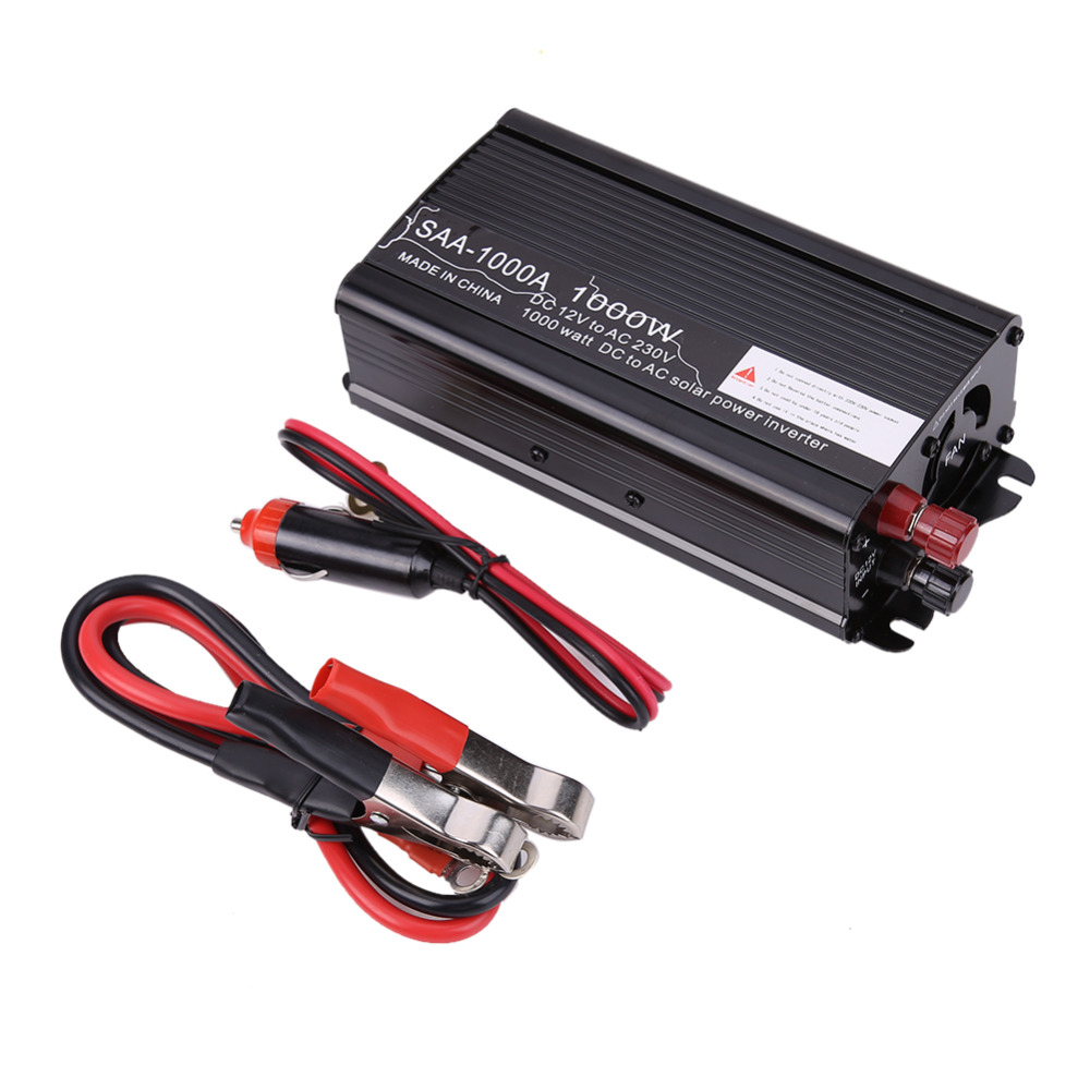 1000W Solar Power Inverter DC 12V & AC 230V Modified Conventer with Car Charger & 1Pair Alligator Clip For Television DVD Player(China (Mainland))