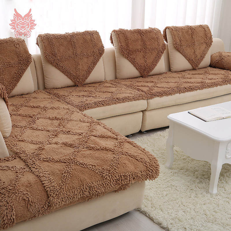 Free shipping 2015 New fashion European style plush chenille sofa cover handmade warm winter flannel slipcovers canape SP2518