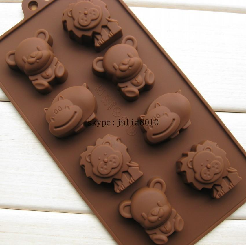 biscuit candy DIY tools Silicone Mold 8 animals chocolates mold lion hippo bear cookies molds SICM-008-18(China (Mainland))