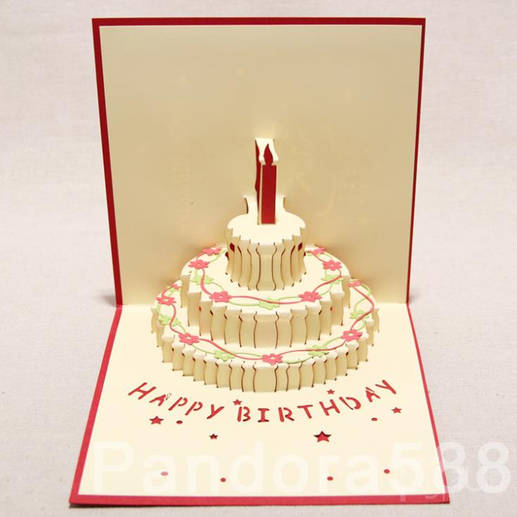 3D Greeting Card ] Handmade 3D Pop Up Three tiered Cake Greeting ...