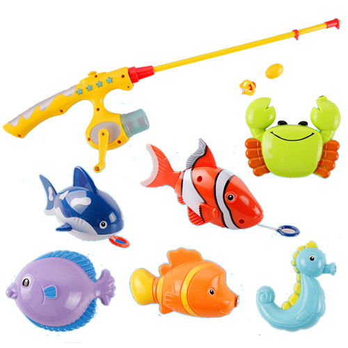 Puzzle Magnetic Fishing Game Ocean 1 Rod 6 Fish Kid Children Bath Hook Toy Funny(China (Mainland))