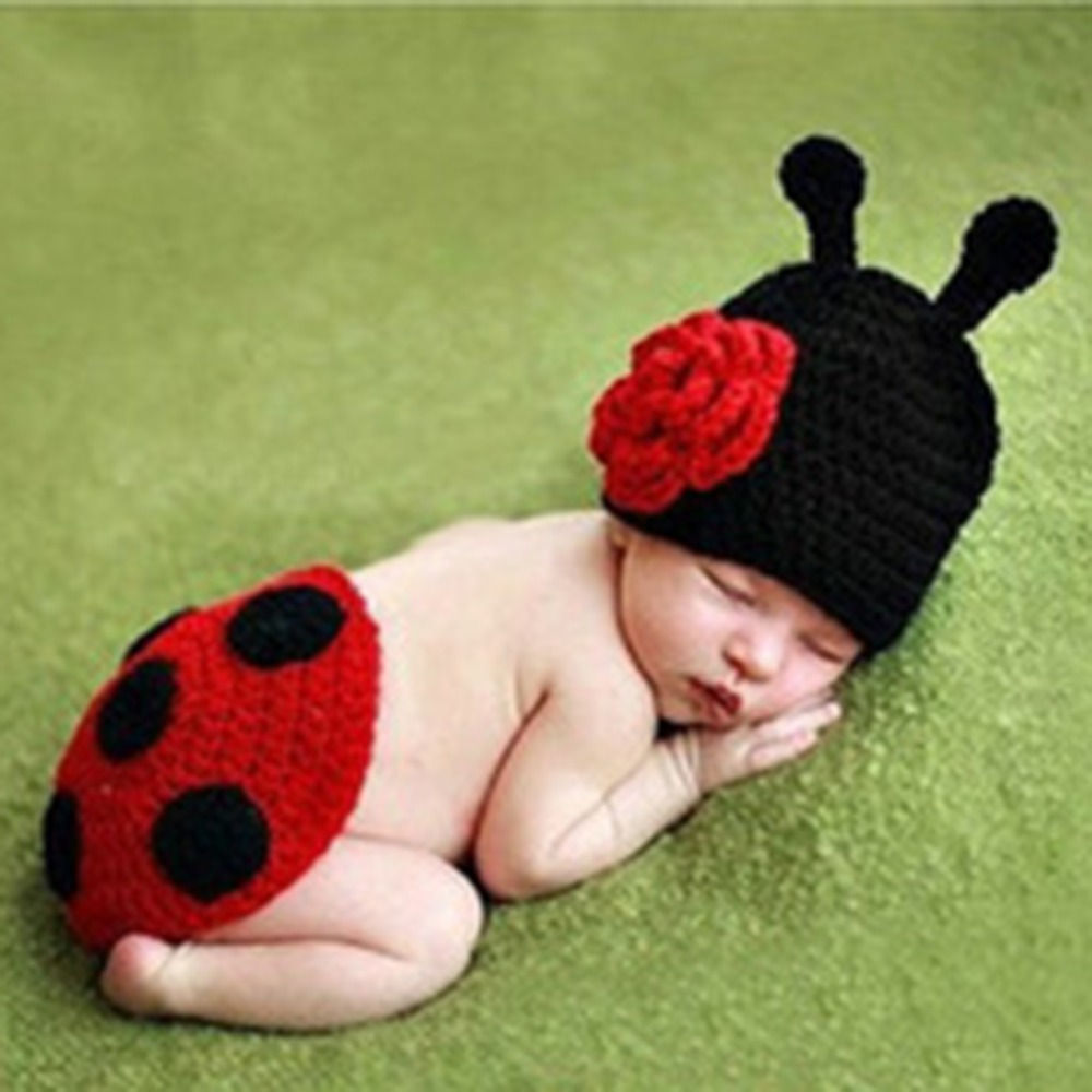 Newborn Cute Baby Crochet Photography Props Hats and Caps Beatles Style Soft Comfortable Adorable Clothes Free Shipping(China (Mainland))
