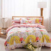 EsyDream peacock Print Kids Bedspreads Sets (No Comforter),500TC Cotton 4pc peafowl Fashion Girls Bedding Cover Queen Size (China (Mainland))