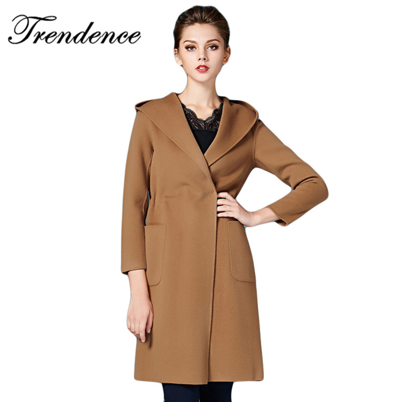 2015 New Arrival Autumn Winter Long Style 100% Hand Make Two-sided Hooded Women Wool Coat Solid Full sleeve Women Trench CoatОдежда и ак�е��уары<br><br><br>Aliexpress