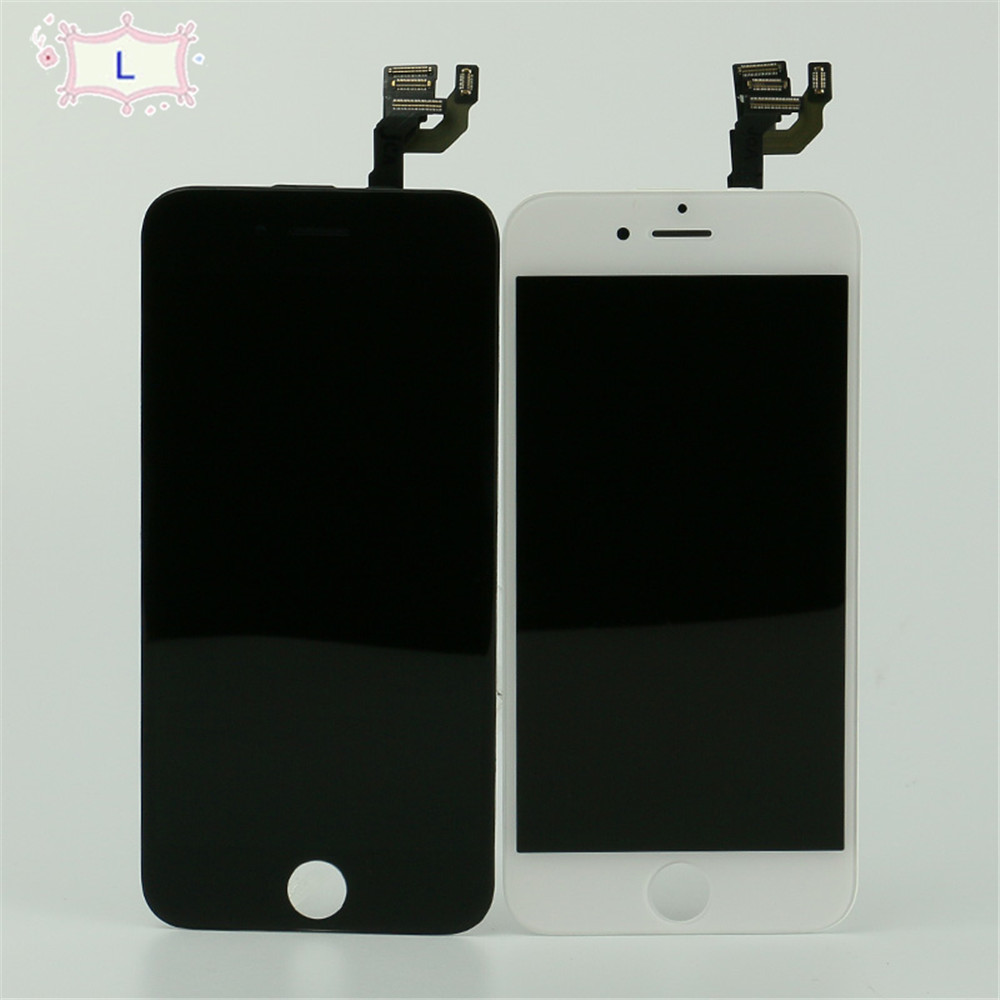 Black display for iphone 6 lcd assembly touch screen lcd display digitizer  + frame + camera & home button + sensor flex cable