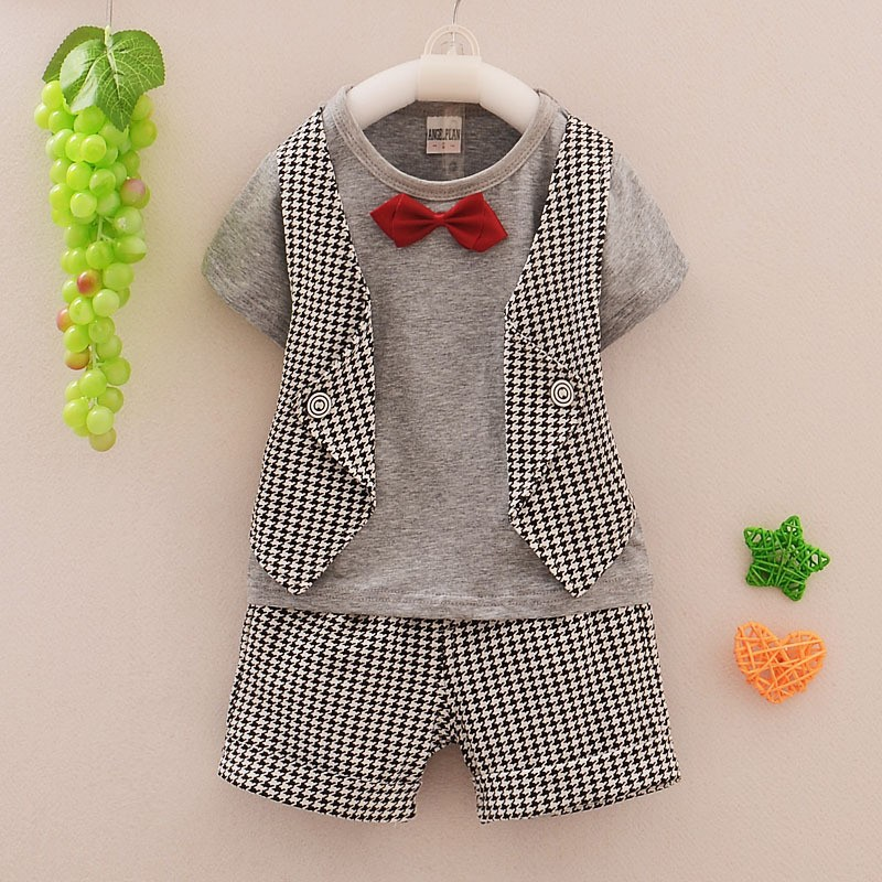 2015 Fashion Style New Baby Boy Clothes Baby Clothing Set Lattice Summer Short-Sleeved Suit Pants 2pc/ Sets Children Clothing<br><br>Aliexpress