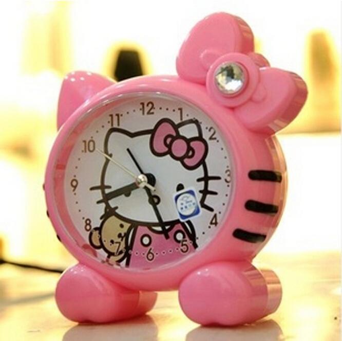 1Pcs Kitty Fashion Silent Glow Talking Alarm Clock Cartoon Voice Ideas Alarm Clocks Random Colors ML16025(China (Mainland))