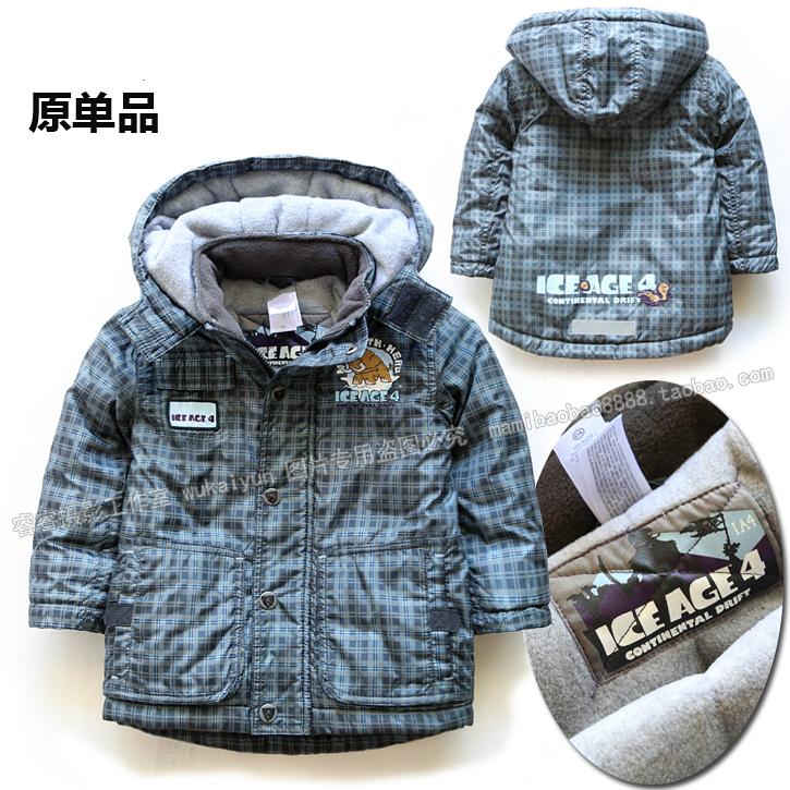 Retail new 2014 children clothing winter jacket baby outerwear boys coat thicken overcoat kids warm plaid - Sunny Baby fashion Store store