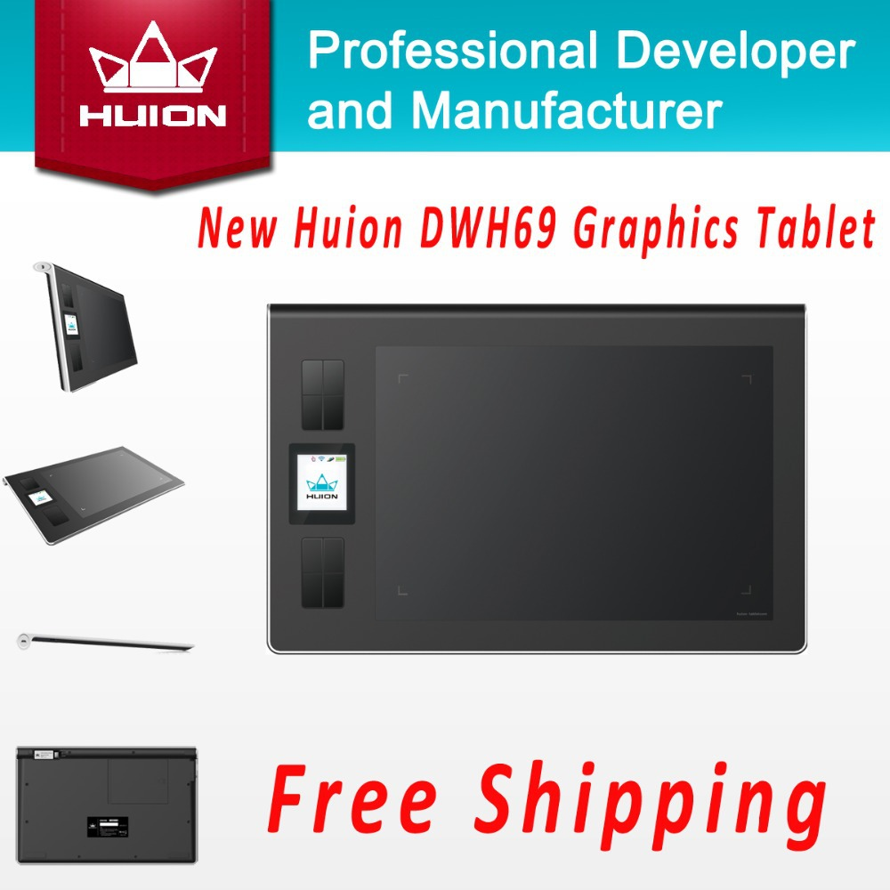 New Huion DWH69 Genuine Wireless Graphics Tablet Drawing Tablets Professional Signature Tablets Kids Painting Pen Tablet Black(China (Mainland))