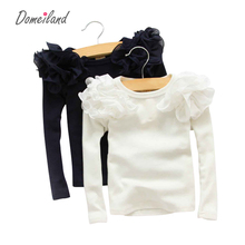 2017 Spring Fashion New Baby Girls Clothing Cute Lace Long Floral Sleeve Blouse Ruffle Blouse Tops(China (Mainland))