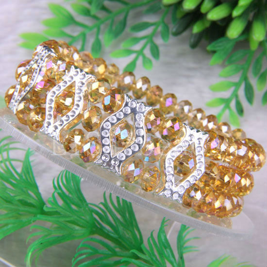 """Free Shipping New without tags Fashion Jewelry Yellow Faceted Beads Stretch Crystal Bracelet 7"""" 1Pcs RH654(China (Mainland))"""