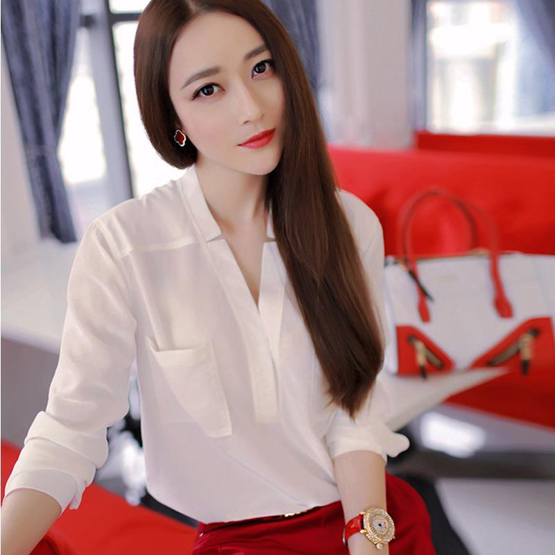 Женственный белого V - образным вырезом женственная блузка три четверти рукава шифон блузка женская одежда