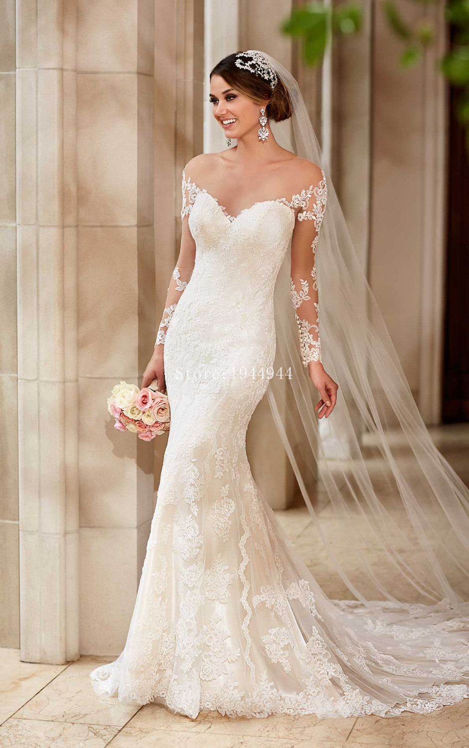 Famous designer mermaid long sleeve bridal gown sexy sheer for Sheer bodice wedding dress