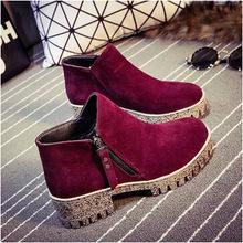 Женская мода красный зима плоские пятки свободного покроя леди лодыжки мартин загрузки с размером молния черный непромокаемую обувь на платформе туфли-botas
