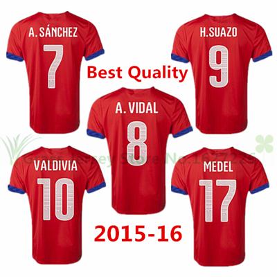 HOT! Top Thailand 2015 2016 Chile jersey CONMEBOL soccer football shirts red 15 16 VALDIVIA A.VIDAL A.SANCHEZ MEDEL home Jerseys(China (Mainland))