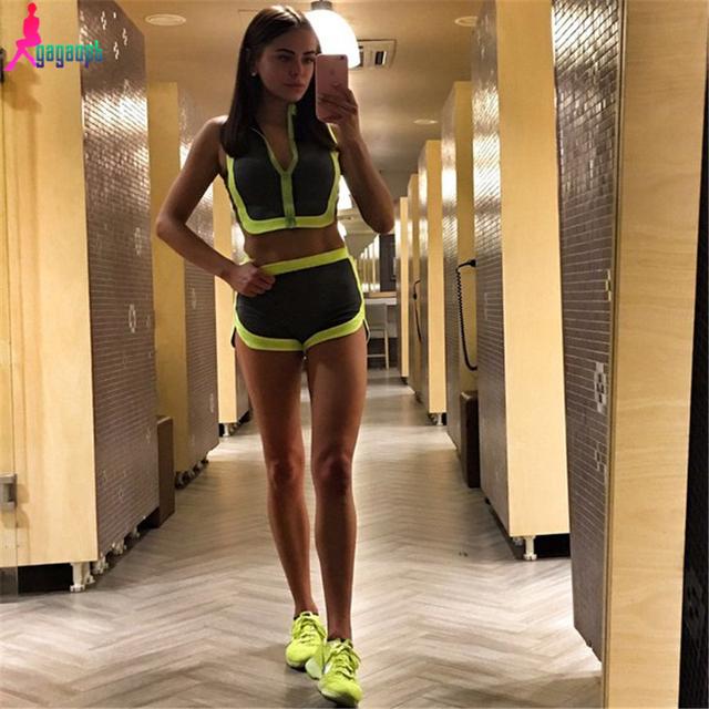 Gagaopt спортивное женщины свободного покроя футболка + бюстгальтеры спорт фитнес ...