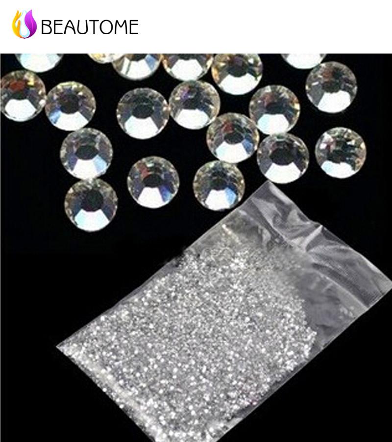 1000Pcs Clear Round Crystal Gem Diamond AB Nail Art Rhinestones For Nails Decorations Flat Back Stones Design !(China (Mainland))