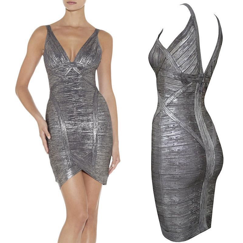 Sexy sequin bandage dresses metallic silver grey v neck bodycon mini dress(China (Mainland))