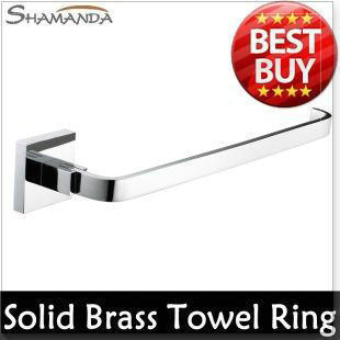 lavatorio Solid Brass Copper Chrome Finished Bathroom Accessories Products Square Towel Ring,Towel Holder,Towel Bar-99007 tornei(China (Mainland))