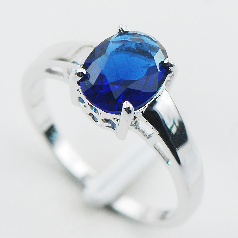 Blue Sapphire 925 Sterling Silver Ring Size 5 6 7 8 9 10 11 12 PR02 - jewelry_plaza store