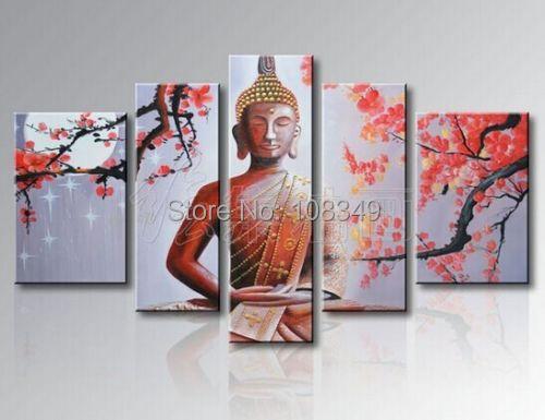 Handpainted oil painting New poinsettia figure of Buddha High Q. buddha painting Oil Painting on canvas 5pcs/set mixorde Framed(China (Mainland))