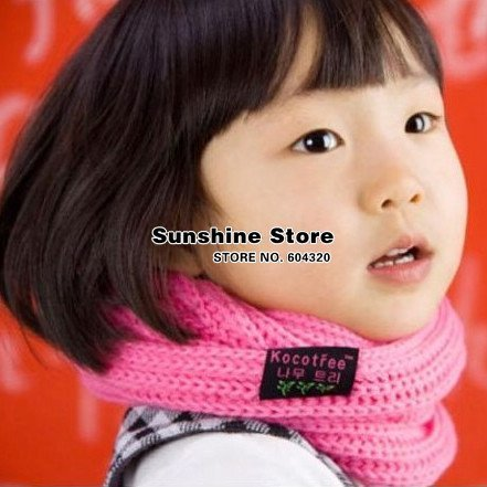 Korean baby girl boy knitted scarf, Colorful Neck warmers for kids,children bufandas, solid gaiter #2D2504 10 pcs/lot(5 colors)
