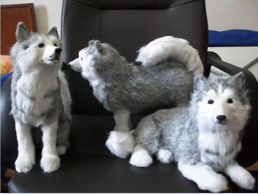 one lot/ 3 pieces toys, simulation husky plush toy ,polyethylene &amp; furs handicraft ,furniture decoration , Christmas gift t4463<br><br>Aliexpress