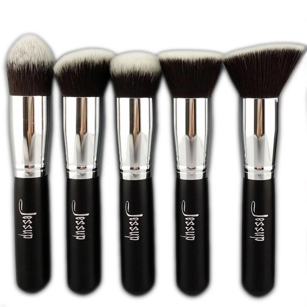 Jessup Brand 5pcs Black/Silver Beauty Kabuki Makeup Brushes Set Foundation Powder Blush brushes Make up Brush Cosmetics Tools(China (Mainland))