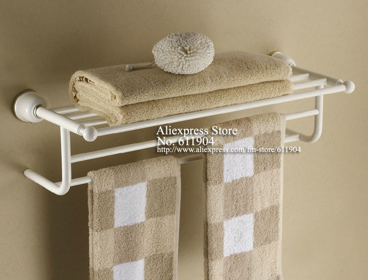 04 series white baking finish bathroom bath towel shelf. Black Bedroom Furniture Sets. Home Design Ideas