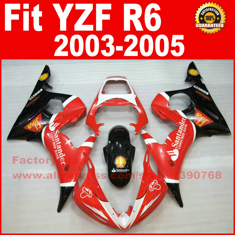 Motor parts for YAMAHA R6 fairing kits 2003 2004 2005 YZF R6 fairing 03 04 05 body kit V969(China (Mainland))