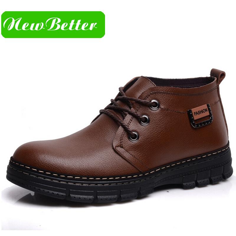 Fashion men winter boots warm plush platform brown black ankle boots winter men shoes 2015(China (Mainland))