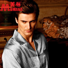 Ansi male pure silk long-sleeve sleep 320530 lounge set(China (Mainland))