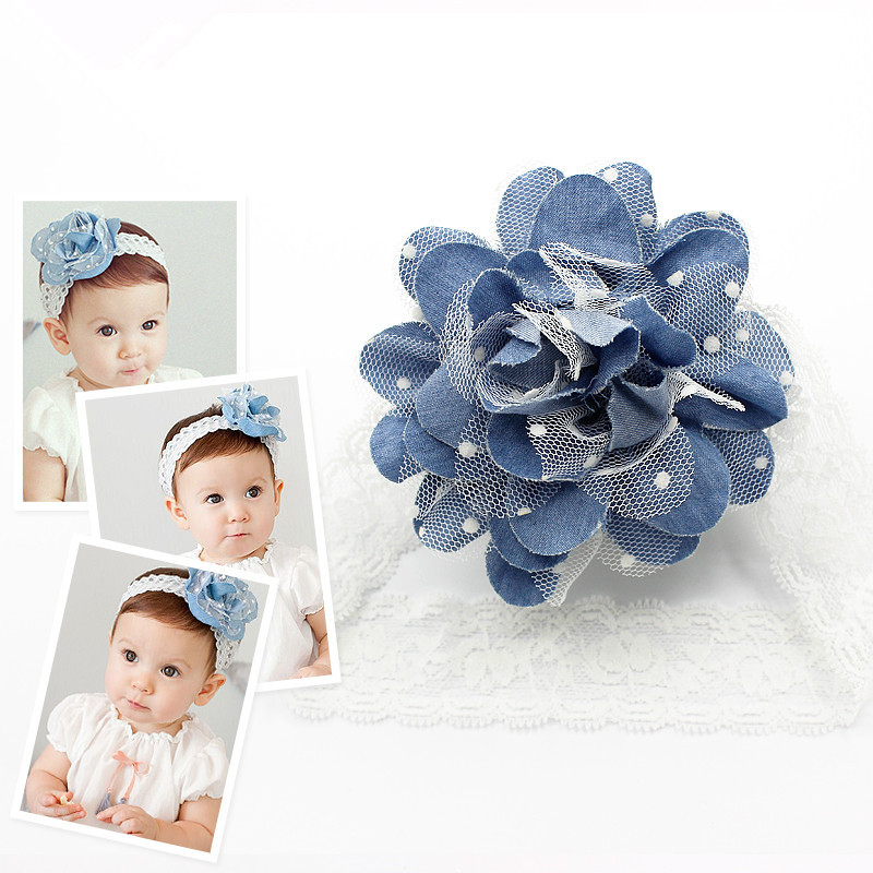 2015 New Denim Headband Big Lace Flower Headband Blue Girls Sweet Hairband Baby Princess Fashion Cute Floral Head Wear(China (Mainland))