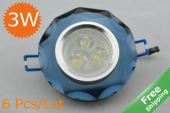 3W LED Crystal Ceiling Light + 3x 1W+ 7 Shell colors+ 110V-240V + 6pcs/Lot +Free hipping