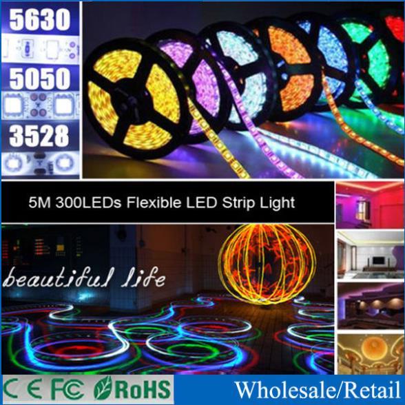Cheap Led Strip 5050 Waterproof IP65 60led/m 5M 300 LEDs 12V fita Led Strip Light RGB,White,Red,Green,Blue,Yellow,Free Shipping(China (Mainland))