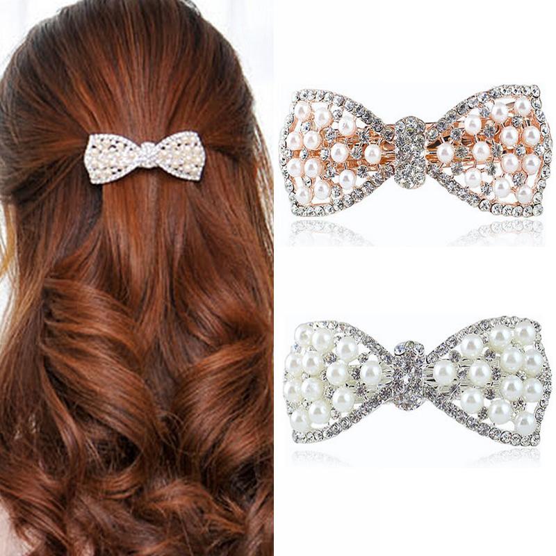 1Pcs Hair Clips Crystal Rhinestone Metal Clip Barrette Tiara Hairpins Hairdresser Head Women Female Hair Accessories For Braids(China (Mainland))