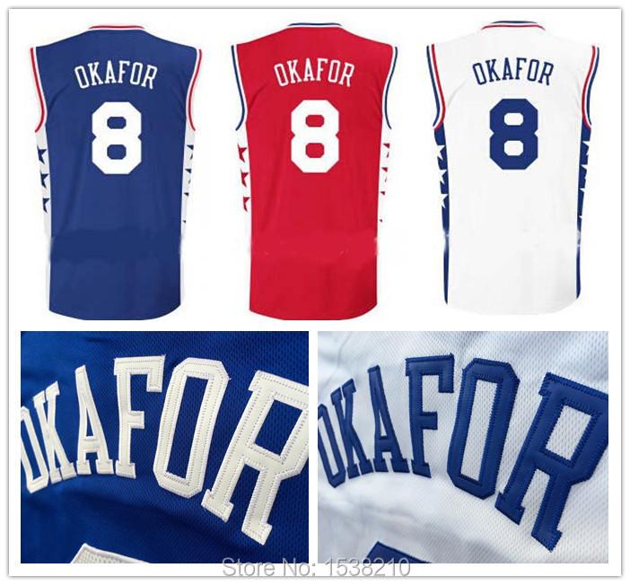 Hot Sale Philadelphia #8 Jahlil Okafor Jersey New Material Blue Red White Rev 30 Basketball Jersey Stitched Logo Size:S-XXL(China (Mainland))