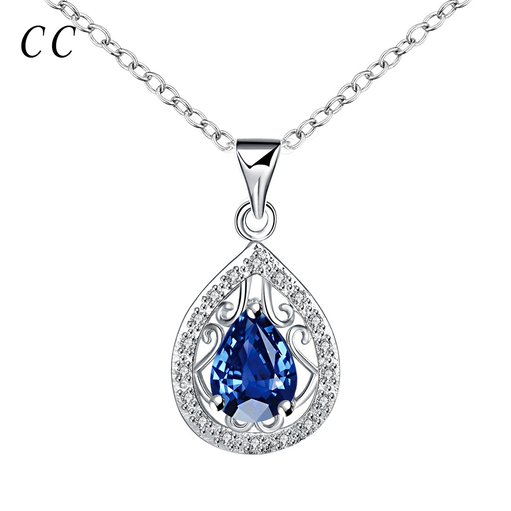 Top quality luxury blue water drop zirconia diamond glass pendants necklace for women sliver plated fashion jewelry CCNE0417(China (Mainland))