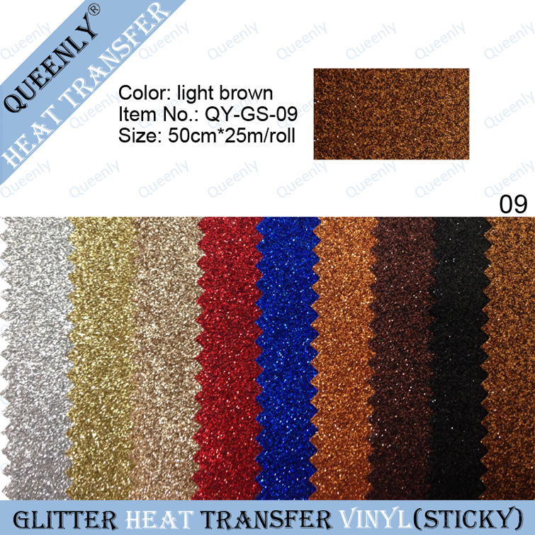 Sticky back light brown glitter heat transfer vinyl transfer material 50cm*25m/roll(China (Mainland))