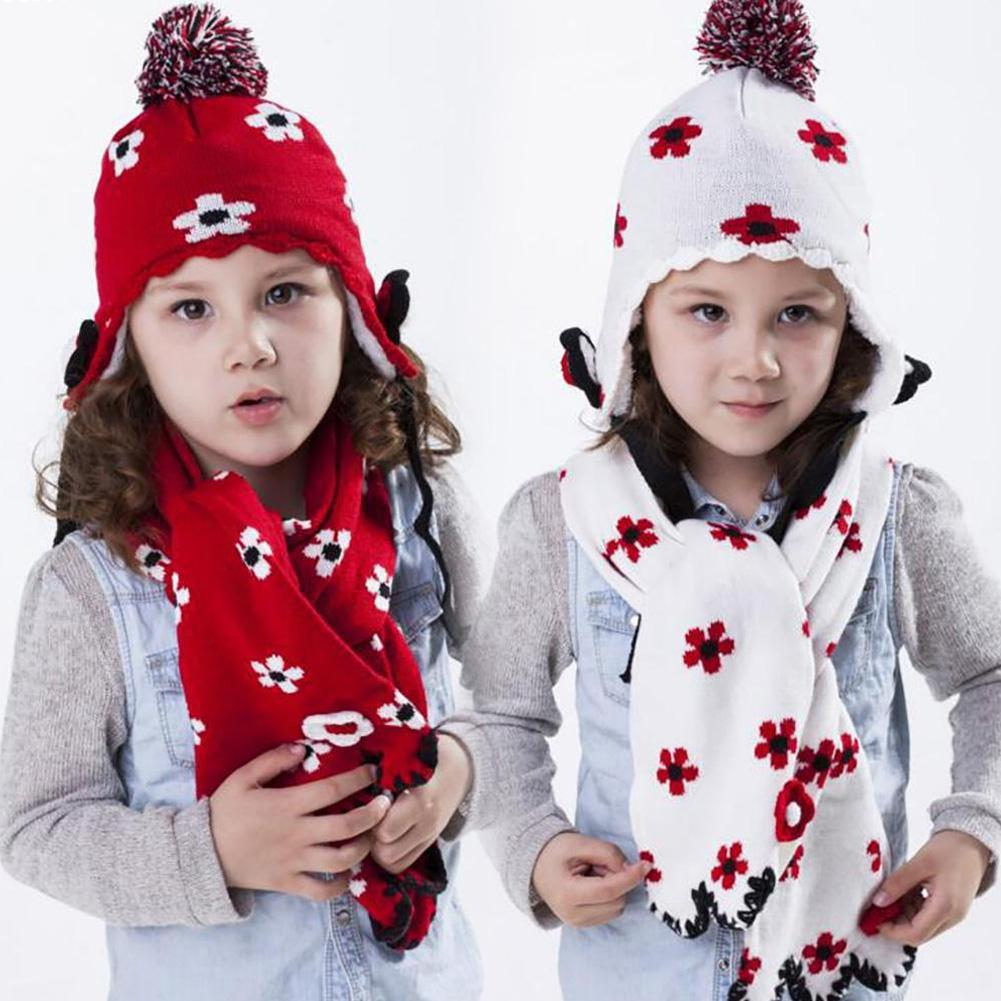 Knitted Winter Warm 2 Pieces Sets Accessories Kids Flower Hats Scarf Suit Classic Style Christmas Gift For Boys Girls  D1