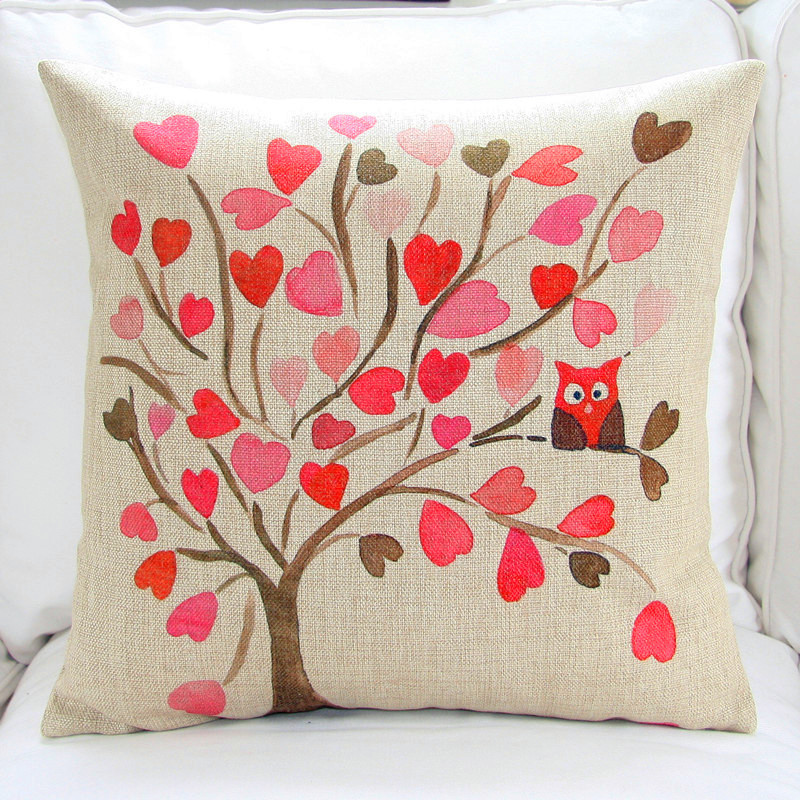 Owl on Tree Chinese Watercolor Painting Cushion Covers