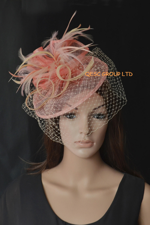 NEW Pink/wood cream sinamay fascinator dress formal hat for wedding,races,kentucky derby,party,Ascot.(China (Mainland))
