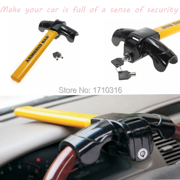 Brand New Car Auto Vehicle Top Mount Anti Theft Steel For Tough Security Lock Steering Wheel(China (Mainland))