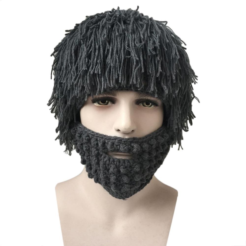 Halloween Men Winter Fake Wigs Knit Wool Ski Face Mask Hat Hobo Cap Beanie 2016 Fashion(China (Mainland))