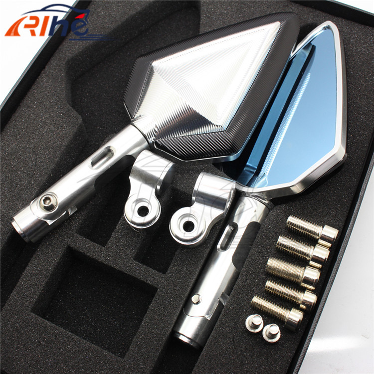 2015 new motorcycle accessories CNC Mirrors universal Aluminum 5 colors optional Motorcycle Rearview Mirror  silver+black color<br><br>Aliexpress