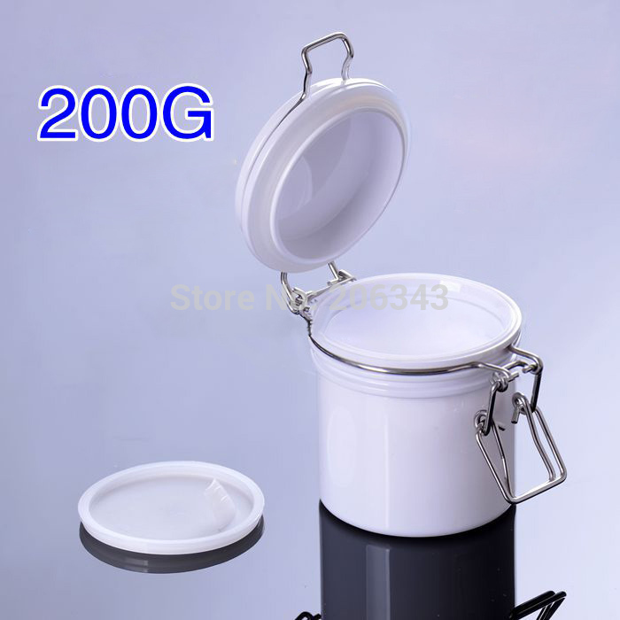 200G white plastic cream jar, sealing pot/ sealing jar for cream/gel/facial scrup/body scrub /mask cream containing<br><br>Aliexpress