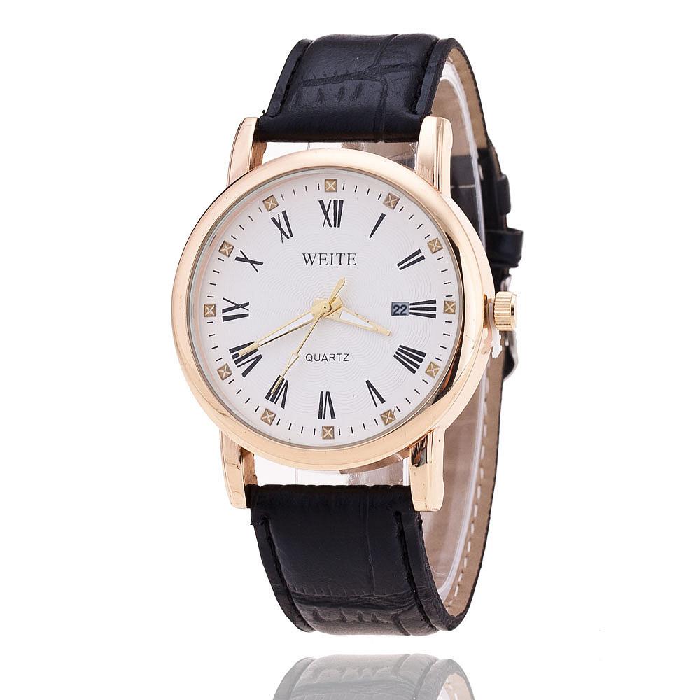 high quality weite brand quartz watches leather