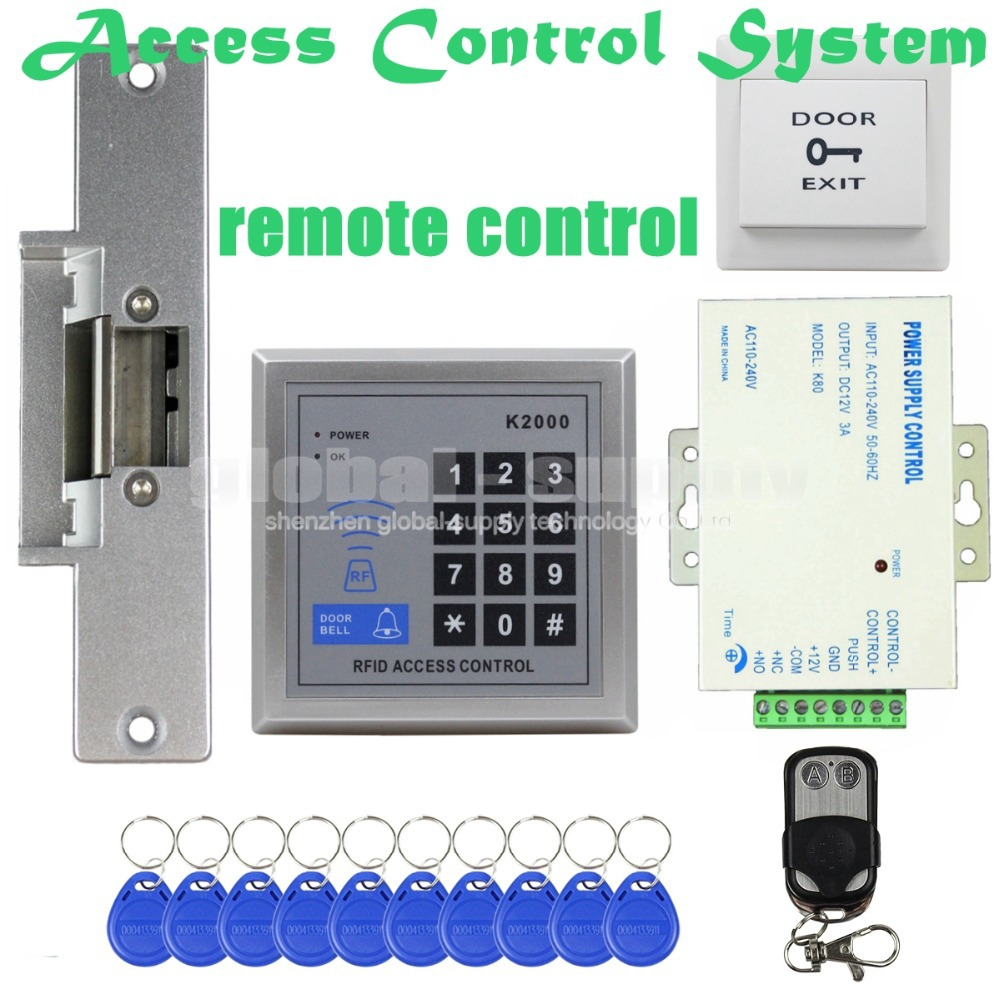 Remote Controller RFID ID Card Reader with Door Bell Button 125KHz Keypad Access Control System Kit + Electric Strike Lock(China (Mainland))