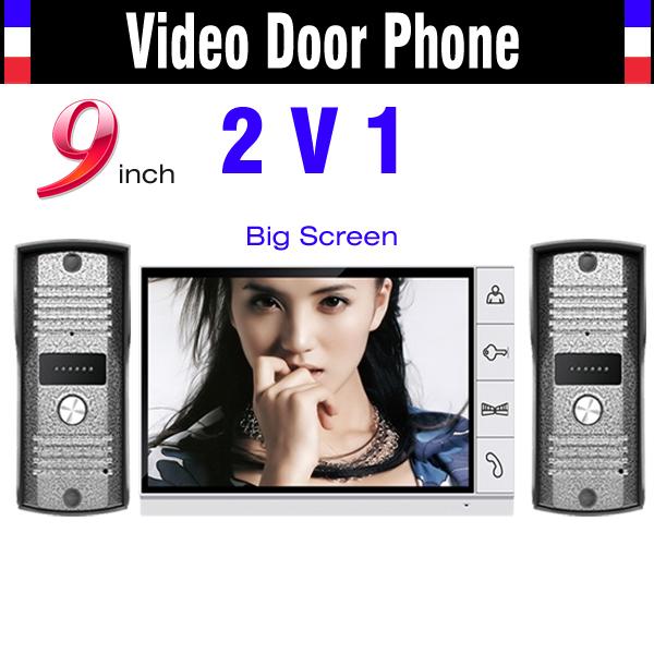 9 Inch Video Door Phone Intercom System Night Vision Doorphone Intercom 1 Monitor 2 Door Camera Home Door Video Intercom Wired